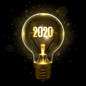 Realistic lamp with the inscription of 2020 year instead of the filament of incandescence, isolated on a dark background, vector illustration
