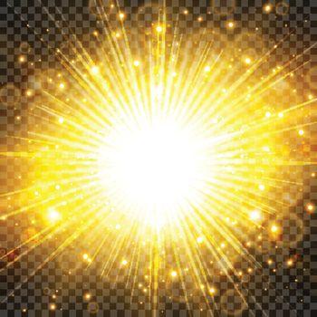 Sun light and sunburst with glittering on transparency backgroun