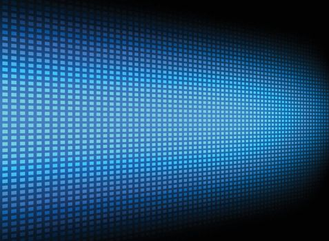 Abstract blue square pattern technology futuristic transfer data innovation perspective on dark background. Vector illustration