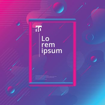 Abstract colorful liquid and fuid shape geometric composition background with 3d tube frame. Vector illustration