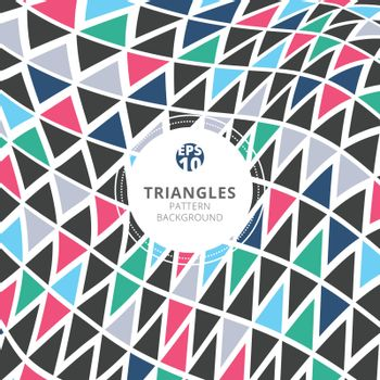 Abstract triangles pattern retro color style on white background. Vector illustration