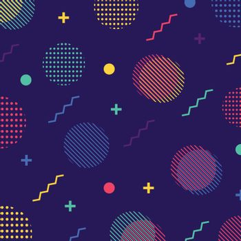 Abstract colorful seamless geometric pattern in retro 80s style. Circle, zigzag, dotted, lines memphis, pop art background. Vector illustration