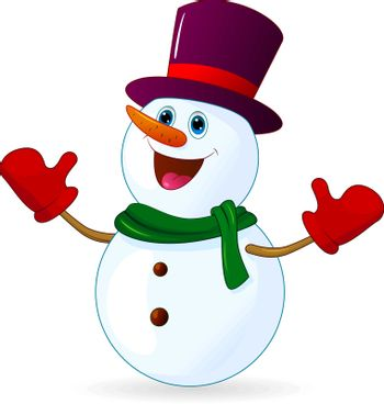 Cheerful snowman with hat on head, on white background.