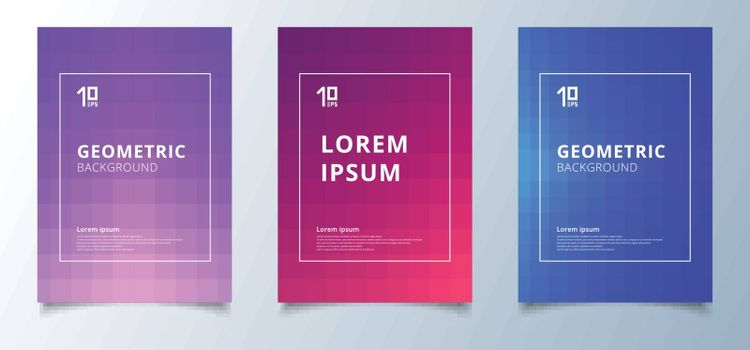 Minimal abstract geometric squares pattern with lighting effect cover design template. Future geometry gradient background. You can use for brochure, banner, wallpaper, mobile screen, annual report. Vector illustration