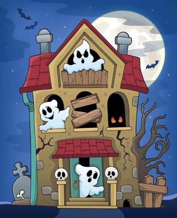 Haunted house with ghosts theme 2