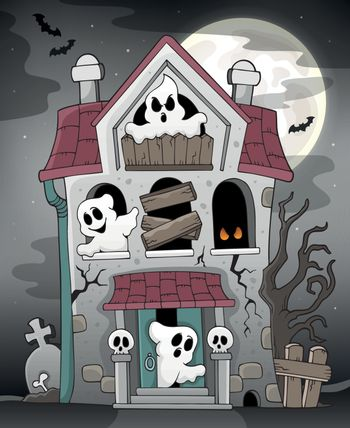 Haunted house with ghosts theme 3