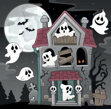 Haunted house with ghosts theme 4