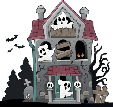Haunted house with ghosts theme 5