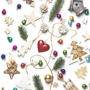 Christmas background. Christmas toys and decoration. Christmas still life. Creative Flat layout and top view composition