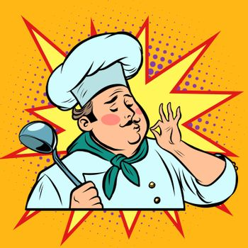 pop art retro cook ok gesture, gourmet food taste