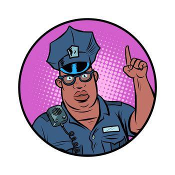 african police officer index finger up