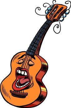 Emoji character emotion acoustic guitar musical instrument