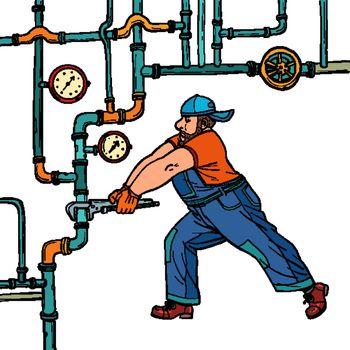 plumber repairs pipes
