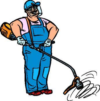 gardener with manual lawn mower