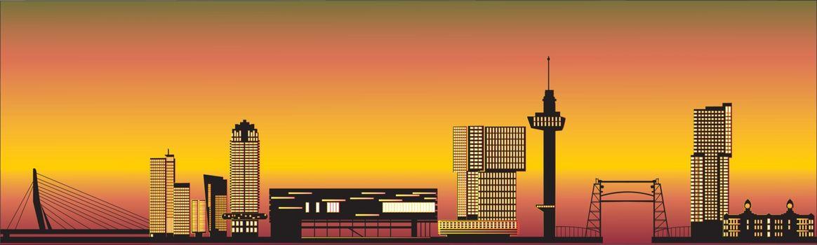 Rotterdam skyline netherlands with text