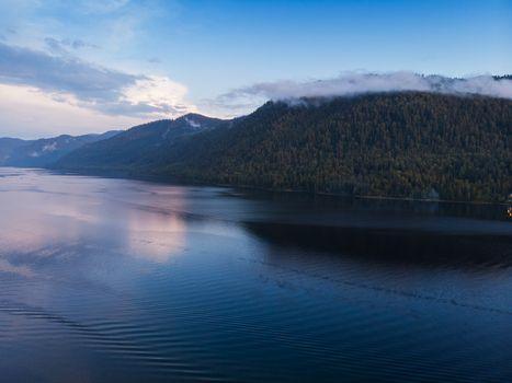 Aerial view on Teletskoye lake in Altai mountains, Siberia, Russia.