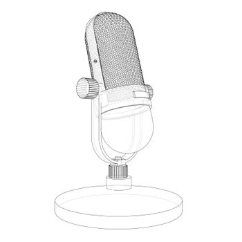Outline vintage microphone vector. Wire-frame style. The layers of visible and invisible lines. 3D illustration