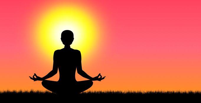 A woman performs yoga exercises at sunset. Human going yoga.