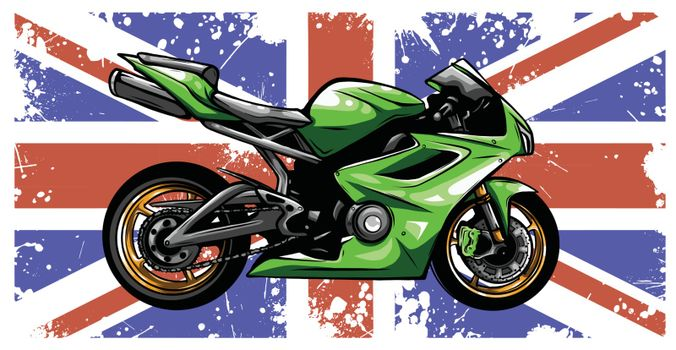 Motorbike with great britain flag in background