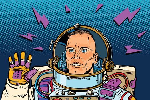 astronaut Hello gesture