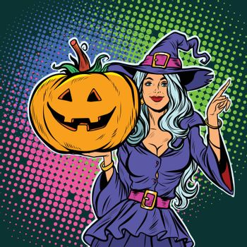 witch with pumpkin. Halloween Party