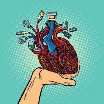cyber heart in human hand