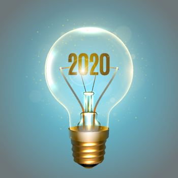 Realistic lamp with the inscription of 2020 year instead of the filament of incandescence, isolated on a blue background, vector illustration