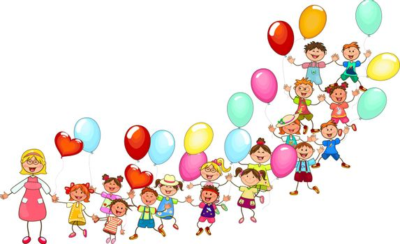 Joyful little kids and a teacher. A group of happy, smiling children with balloons. A group of children with a teacher on a walk. Group of cheerful, smiling children on a white background.
