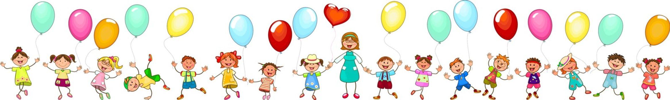 Joyful little children and a teacher. A group of happy, smiling children with balloons. A group of children with a teacher on a walk. Group of cheerful, smiling children on a white background. Cartoon joyful children.