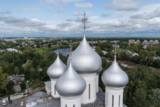 Domes of St. Sophia Cathedral in the Vologda Kremlin and city pa