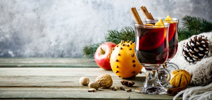 Mulled wine on rustic table