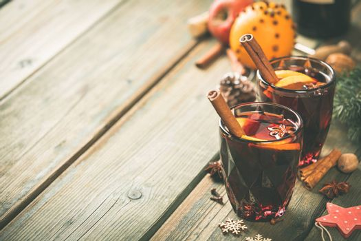 Mulled wine with spices and orange slices