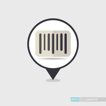 Barcode vector pin map icon