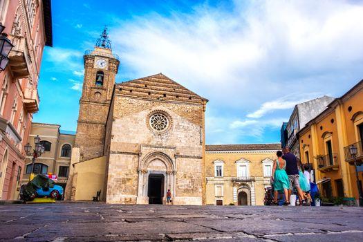 Italia church plaza people street of Vasto cathedral - Duomo di Vasto or Concattedrale di San Giuseppe - Abruzzo landmark - Italy .