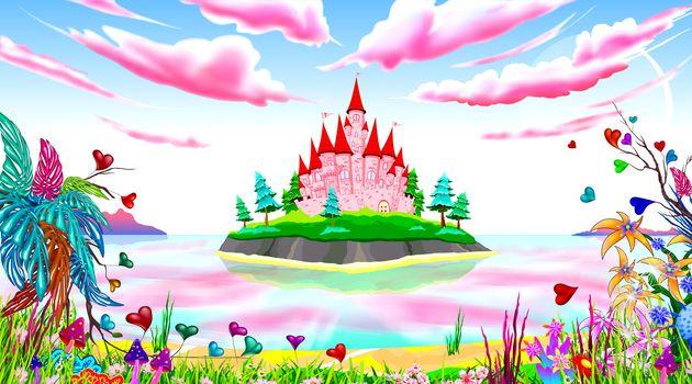 Fantasy fabulous landscape. The island has a pink princess castle. Seascape. Blue sky with pink clouds. Fabulous plants and flowers.