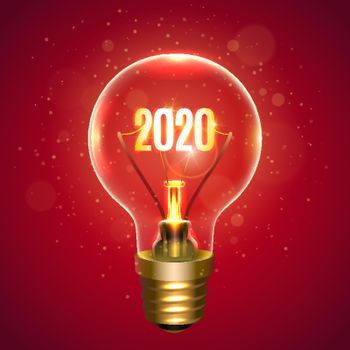 Realistic lamp with the inscription of 2020 year instead of the filament of incandescence, isolated on a red background, vector illustration