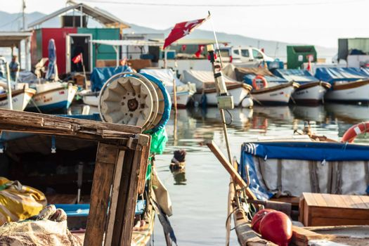 a shoot from a fisherman bay - there is some wooden boxes. photo has taken from izmir/turkey.