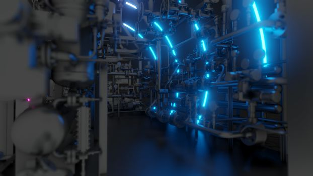 Abstract Industrial Equipment with Neon Lights. Ultraviolet light. 3D illustration