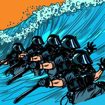 Riot police resist the wave. The concept of inevitability of democratic changes in authoritarian and totalitarian regimes