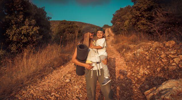 Happy traveler family