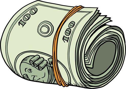One hundred dollars bundle of banknotes gum