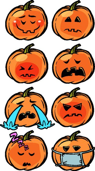 sadness sleep illness tears loneliness Emoji Halloween pumpkin set collection
