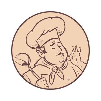 graphic silhouette cook ok gesture, gourmet food taste