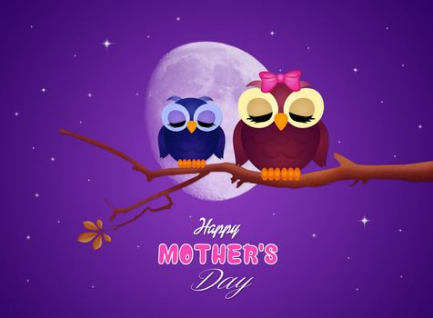 illustration of postcard for mothers day
