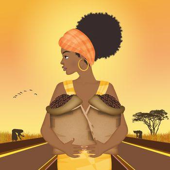 Afro woman grows coffee