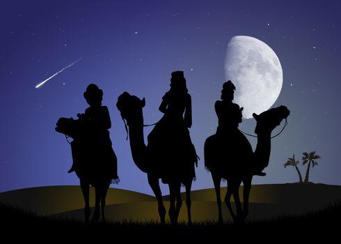 three wise men in the moonlight