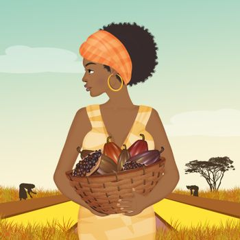 African woman grows cocoa