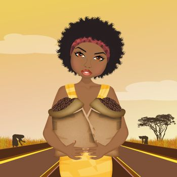 African woman grows coffee