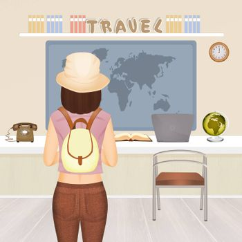 illustration of traveling girl in the travel agency