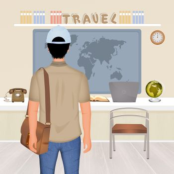 illustration of traveling man in the travel agency